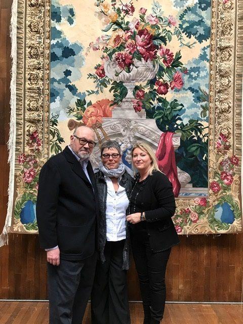 """Tapisserie tissée main à Aubusson """"Bouquet Cornemuse"""" pour un château au Canada Québec"""