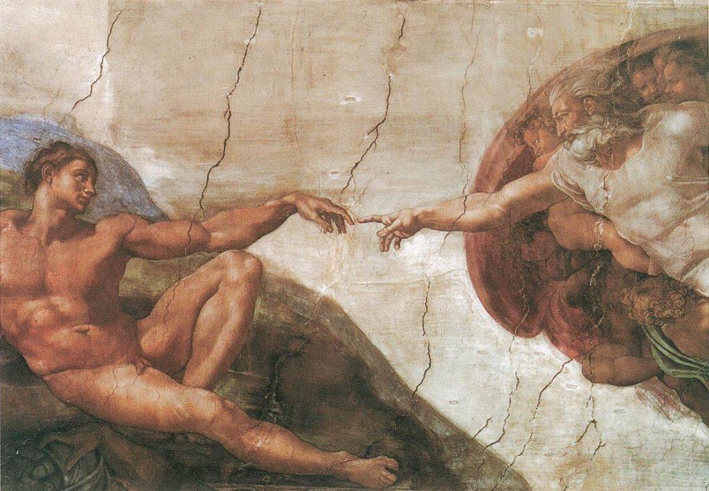 MICHEL ANGE création d'Adam