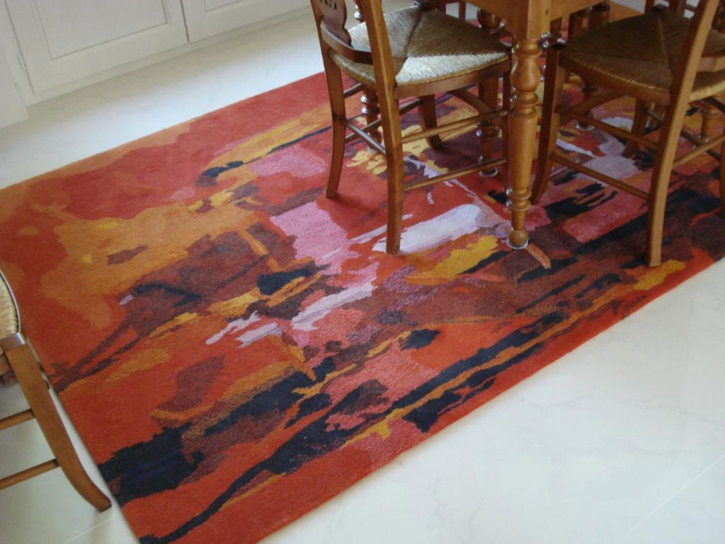 "TAPIS tufté main Aubusson ""Abstraction lyrique"""